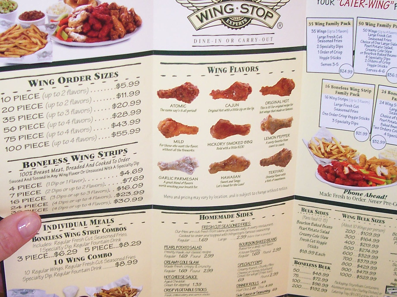 It is an image of Sweet Wingstop Printable Menu