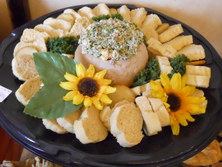 Fake Spinach Dip and real flowers, not.