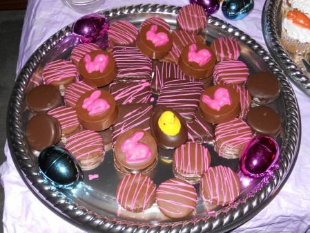 Chocolate Dipped Oreos and one Peep