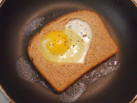 Egg and Toast Heart for Breakfast -- Happy Valentine's Day!