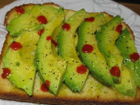 Avocado, Sourdough, Sriracha, Olive Oil, S&P