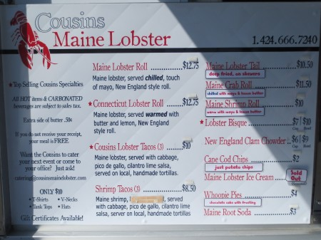 Lobster Roll Menu