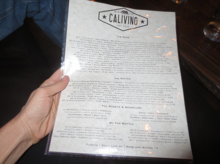 Calivino - Semi-Changing Wine Menu