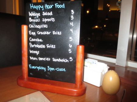 Egg Cracker Happy Hour Menu